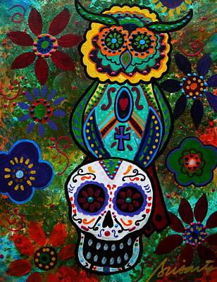 Painting - Talavera Owl And Skull by Pristine Cartera Turkus