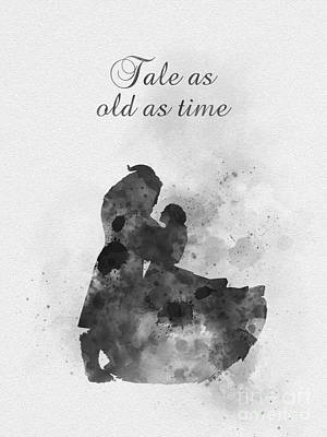 Tale As Old As Time Black And White Art Print