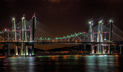 Photograph - Tale Of 2 Bridges At Night by Jeffrey Friedkin