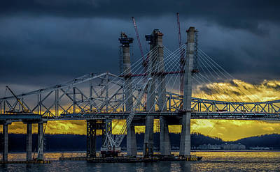 Photograph - Tale Of 2 Bridges At Sunset by Jeffrey Friedkin