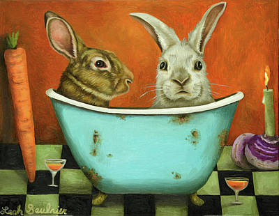 Art Print featuring the painting Tale Of Two Bunnies by Leah Saulnier The Painting Maniac