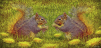 Tale Of Two Squirrels Art Print