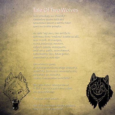 Tale Of Two Wolves - Art Of Stories Art Print by Celestial Images