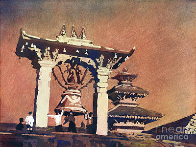Painting - Taleju Bell- Patan, Nepal by Ryan Fox