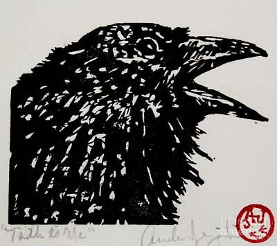 Blackbird Drawing - Talk To Me by Andrew Jagniecki