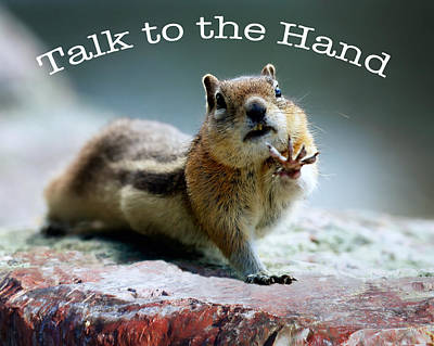 Photograph - Talk To The Hand Text by OLena Art Brand