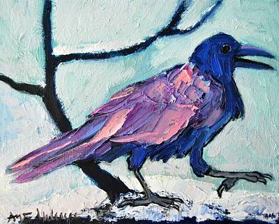 Winterscenes Painting - Talkative Crow 1 by Ana Maria Edulescu