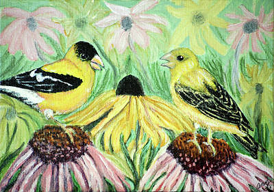 Talking Finches Art Print by Ann Ingham