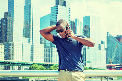 Photograph - Talking On Cell Phone, Traveling In New York In Summer 17061827 by Alexander Image