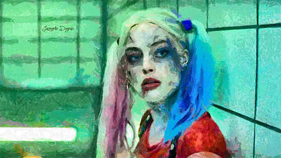 Batman Digital Art - Talking To Harley Quinn  - Free Style -  - Da by Leonardo Digenio