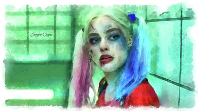 Joker Painting - Talking To Harley Quinn - Aquarell Style by Leonardo Digenio