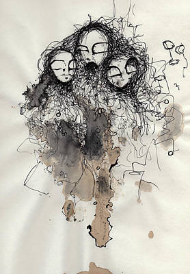 Ink Drawing Mixed Media - Talking To Yourself Again  by Mark M  Mellon