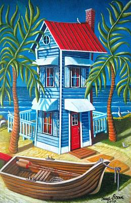 Painting - Tall Blue House by Chris Boone