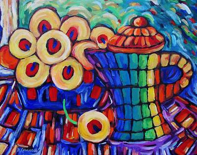 Painting -  Tall Ceramic Teapot And Flowers by Dianne  Connolly