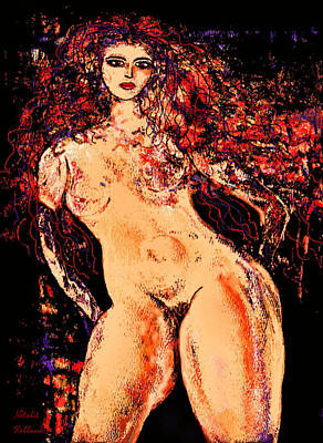 Mixed Media - Tall Curvaceous Nude by Natalie Holland