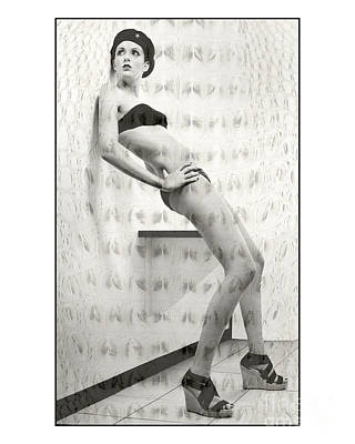 Photograph - Tall Girl Leaning On Wall In Changeroom by Michael Edwards