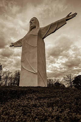Photograph - Tall Jesus Christ Statue - Eureka Springs Arkansas - Sepia Edition by Gregory Ballos