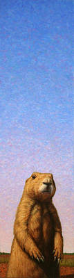 Texas Painting - Tall Prairie Dog by James W Johnson