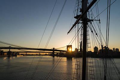 Photograph - Tall Ship And Brooklyn Bridge - Iconic New York City Sunrise by Georgia Mizuleva
