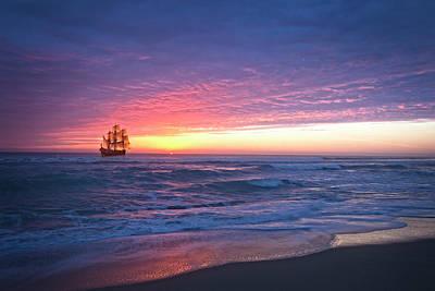 Photograph - Tall Ship At Dawn by Debra and Dave Vanderlaan