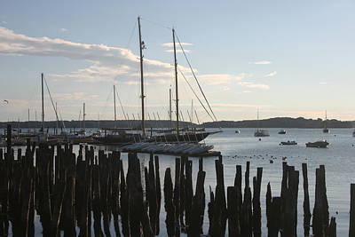 Tall Ship At Dock Art Print by Dennis Curry