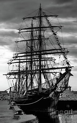 Photograph - Tall Ship At Hobart Bw by Tim Richards