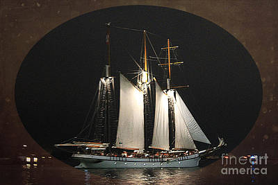 Photograph - Tall Ship At Night by Nina Silver