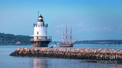 Photograph - Tall Ship At Spring Point Ledge Lighthouse by Jerry Fornarotto