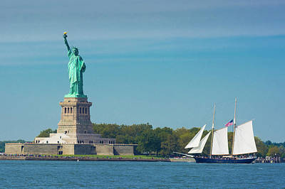 Photograph - Tall Ship At Statue Of Liberty by Kenneth Cole