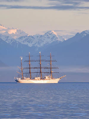 Photograph - Tall Ship Beneath The Mountains by Keith Boone