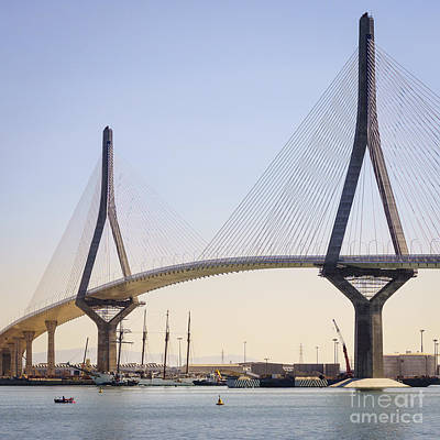 Photograph - Tall Ship Juan Sebastian Elcano Under 1812 Bridge Cadiz Spain by Pablo Avanzini