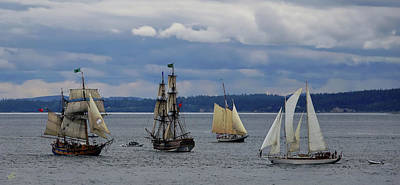 Photograph - Tall Ship Lineup by Rick Lawler