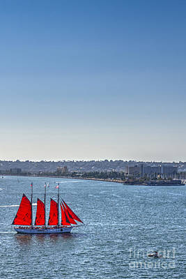 Photograph - Tall Ship Red Sails by David Zanzinger