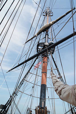 Photograph - Tall Ship Riggings With Old Glory by Margie Avellino