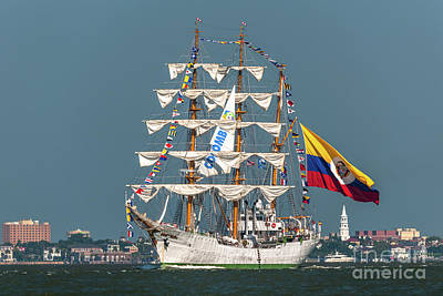 Photograph - Tall Ship Sailing Out Of Charleston Sc by Dale Powell