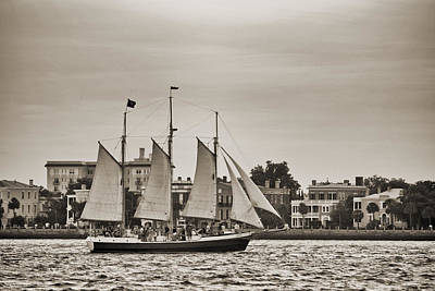 Tall Ship Schooner Pride Off The Historic Charleston Battery Art Print