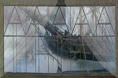 Digital Art - Tall Ship Through A Window by Jeff Burgess