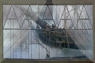 Sound Digital Art - Tall Ship Through A Window by Jeff Burgess