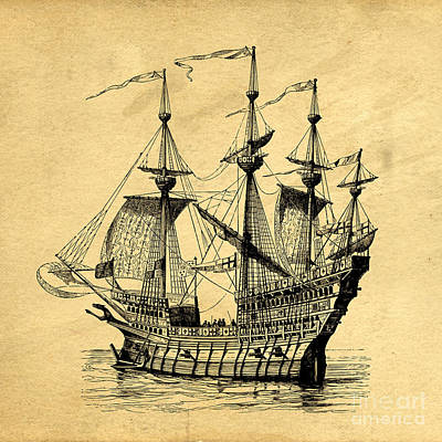 Print featuring the drawing Tall Ship Vintage by Edward Fielding