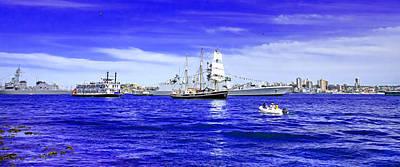 Photograph - Tall Ship War Ship Cruise Ship Helicopter  by Miroslava Jurcik