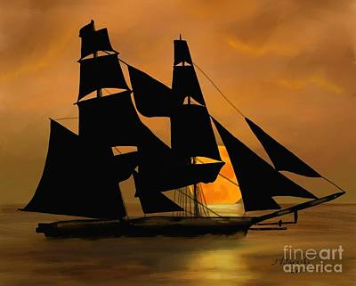 Painting - Tall Ship With A Harvest Moon by Judy Filarecki