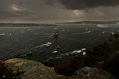 Photograph - Tall Ships Heavy Rain And Wind In Sydney Harbour by Miroslava Jurcik