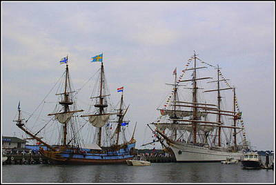 Historic Tall Ships Hermione And Sagres Art Print
