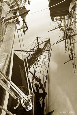 Tall Ships Reflected Art Print by Robert Lacy