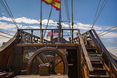 Photograph - Tall Ships Wheel And Poop Deck by Dale Kincaid