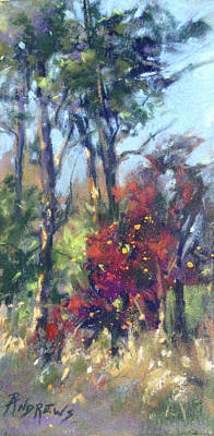 Painting - Tall Trees And Red Bud by Rae Andrews