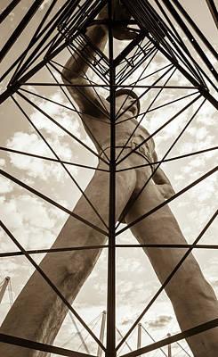 Photograph - Tall Vintage Sepia Tulsa Driller Icon by Gregory Ballos