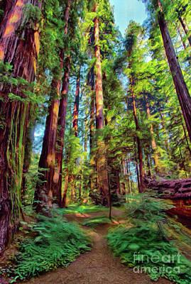 Digital Art - Tall Warriors - California Redwoods Ap by Dan Carmichael