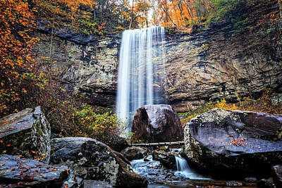 Photograph - Tall Waterfall In The Mountains by Debra and Dave Vanderlaan