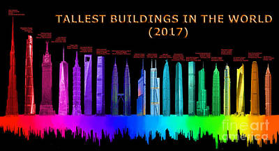 Financial Mixed Media - Tallest Buildings by Edelberto Cabrera